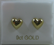 9ct gold Puffy heart shaped stud earrings 0.5g